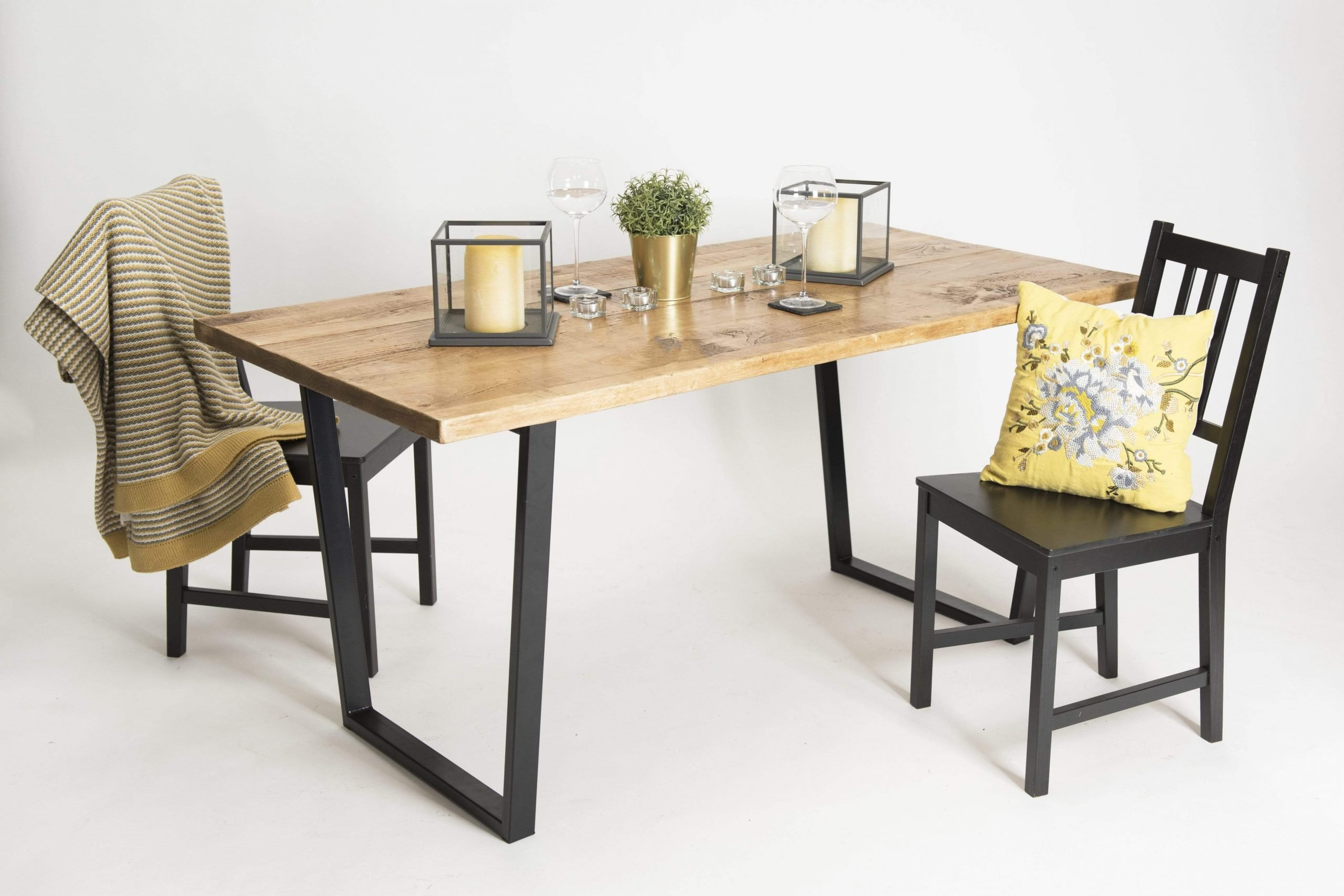 Picture of: Extendable Industrial Dining Table Trapezium Grain Frame