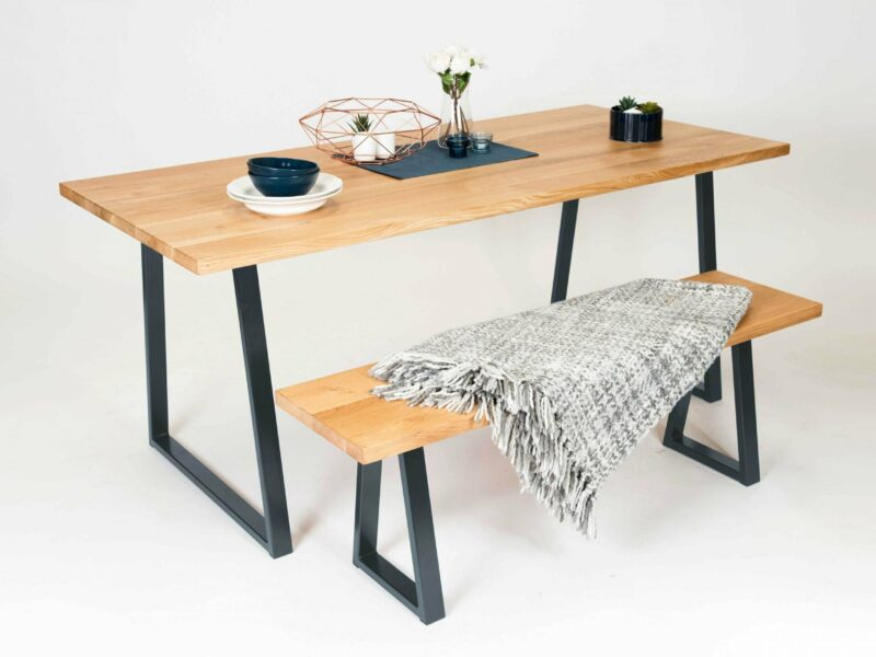 Natural Oak Dining Table with Anthracite Grey A-Frame Legs