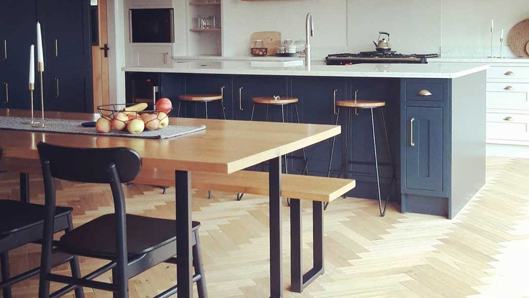 Solid Oak Dining Table with Black Square Frame Legs and Benches