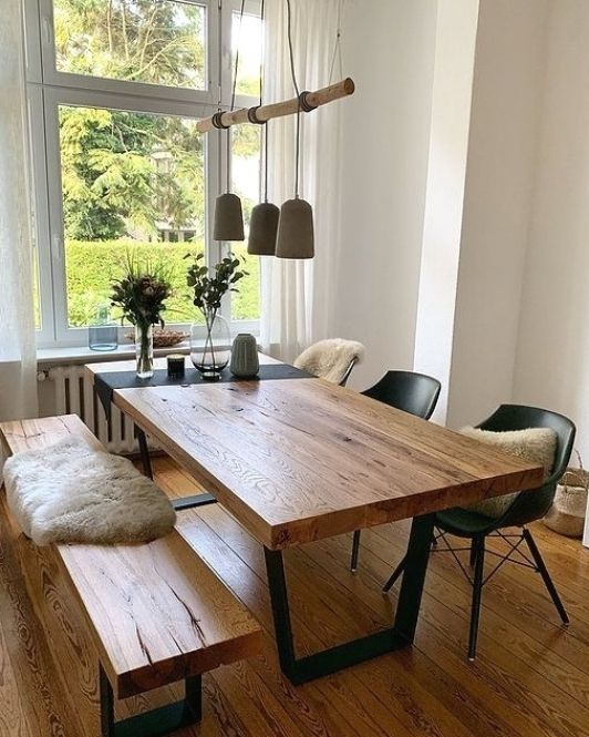Bench and Chairs Solid Oak Dining Table - Grain and Frame