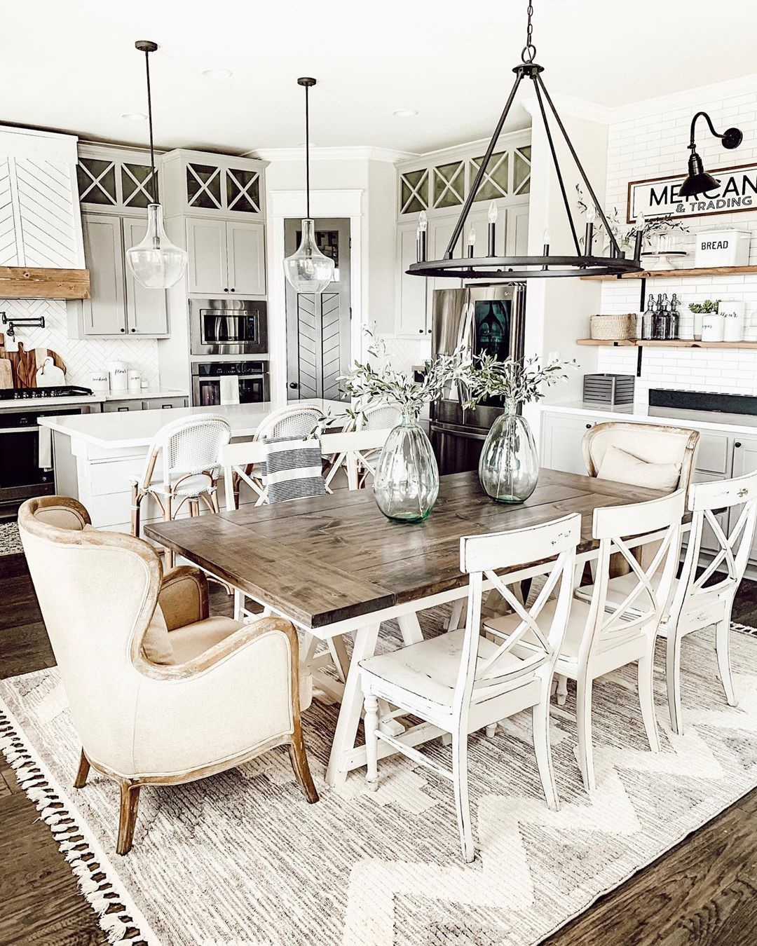 Mismatched Farmhouse & Rustic Chairs with Reclaimed Dining Table - Grain and Frame