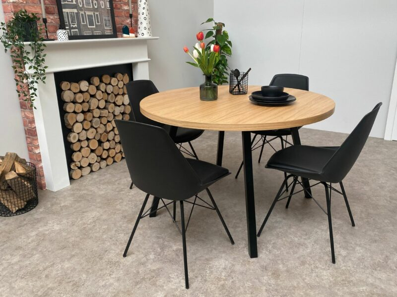 Grain and Frame Round Solid Oak Dining Table Tapered Black Steel Legs